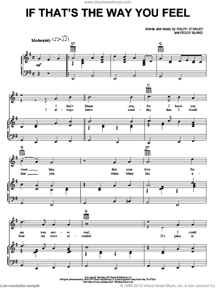 If That's The Way You Feel sheet music for voice, piano or guitar by Ralph Stanley and Peggy Bland, intermediate. Score Image Preview.