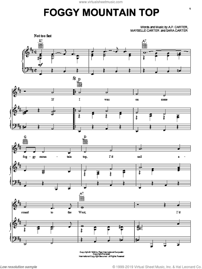 Foggy Mountain Top sheet music for voice, piano or guitar by The Carter Family, A.P. Carter and Maybelle Carter, intermediate voice, piano or guitar. Score Image Preview.