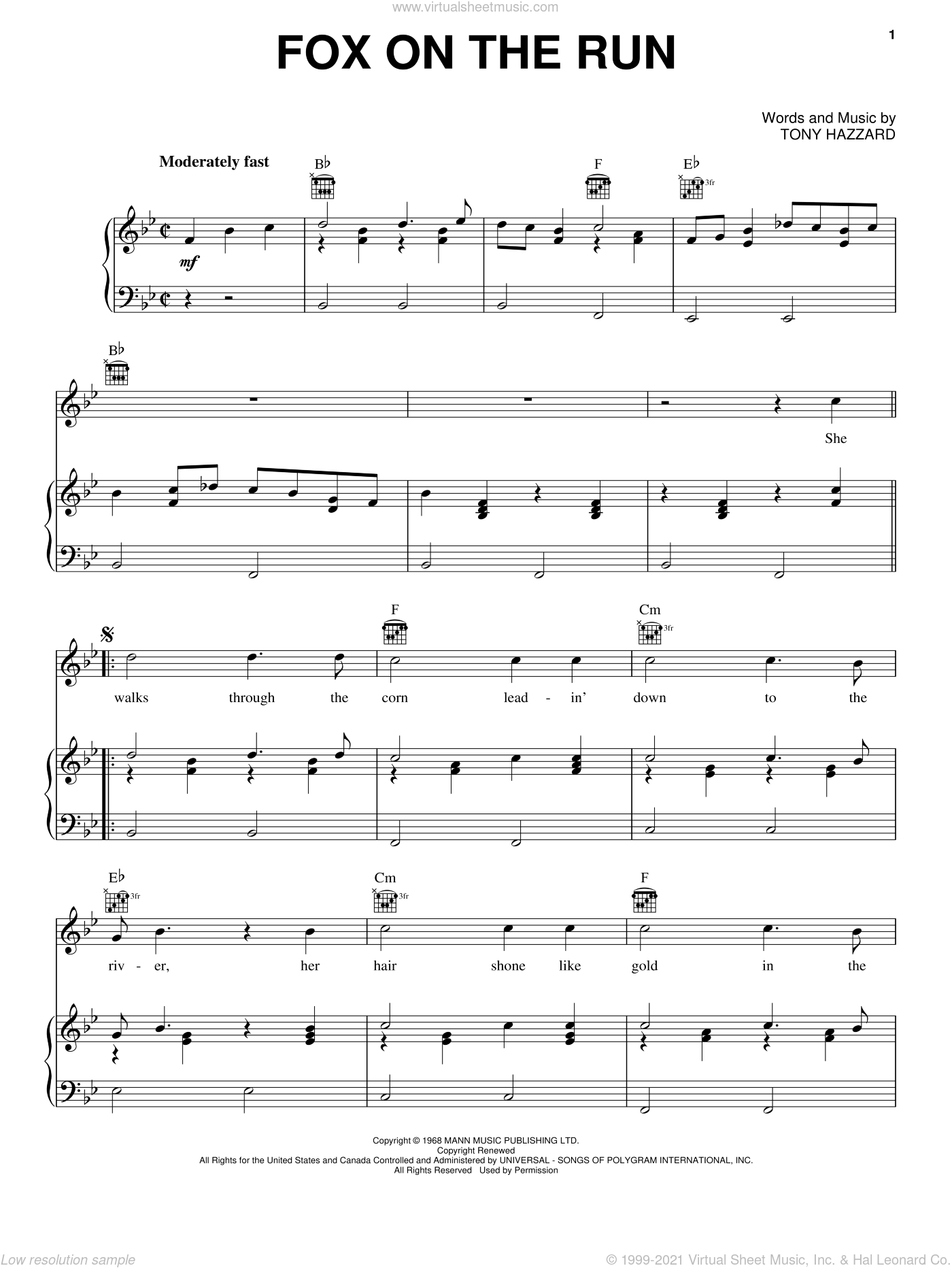 Fox On The Run sheet music for voice, piano or guitar by Tony Hazzard, intermediate