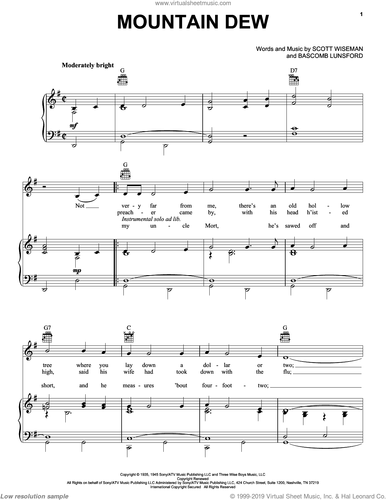 Mountain Dew sheet music for voice, piano or guitar by Scott Wiseman