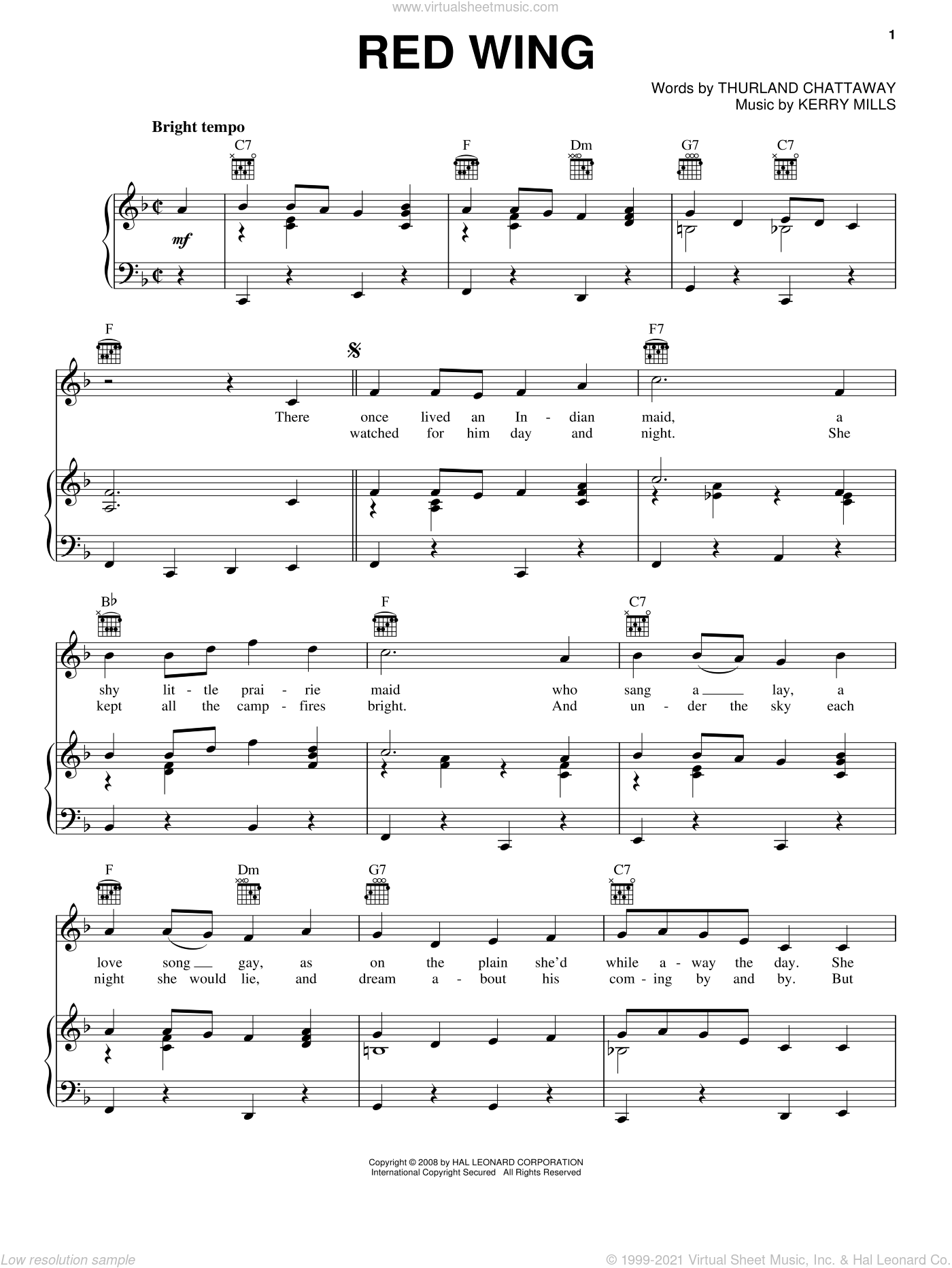 Red Wing sheet music for voice, piano or guitar by Thurland Chattaway and Kerry Mills, intermediate skill level