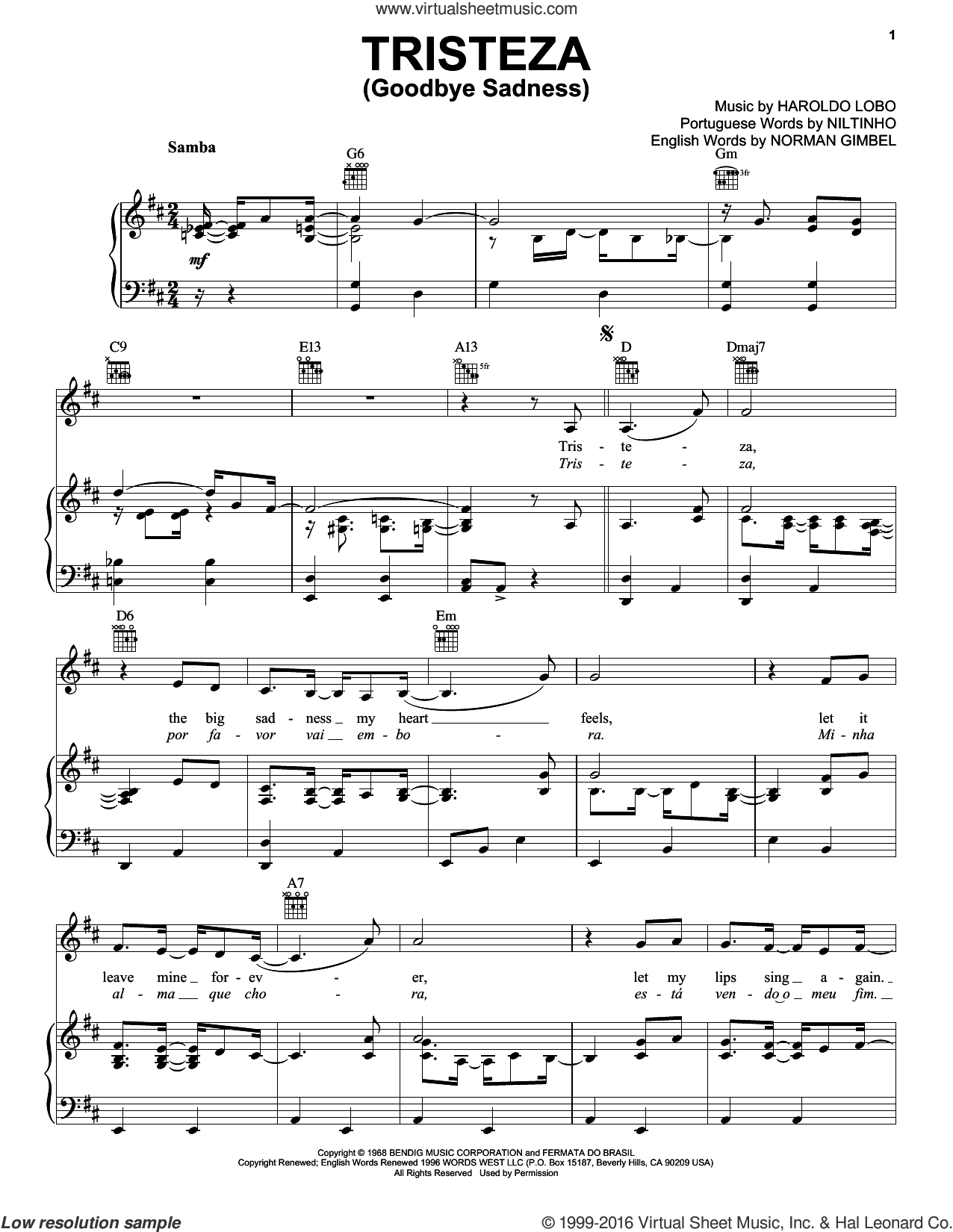 Tristeza (Goodbye Sadness) sheet music for voice, piano or guitar by Niltinho, Haroldo Lobo and Norman Gimbel, intermediate skill level