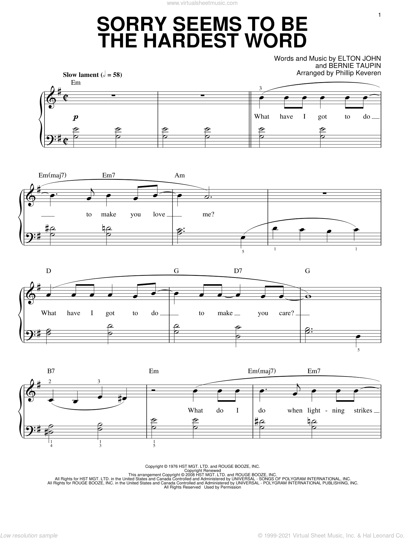 Sorry Seems To Be The Hardest Word sheet music for piano solo by Bernie Taupin