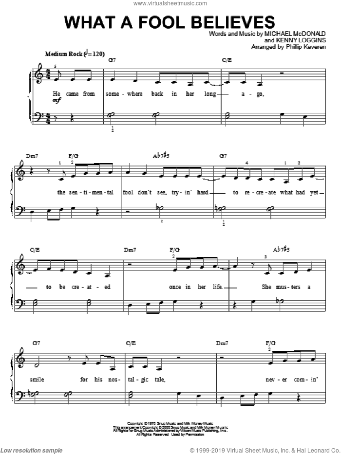 What A Fool Believes sheet music for piano solo by The Doobie Brothers, Phillip Keveren, Kenny Loggins and Michael McDonald. Score Image Preview.