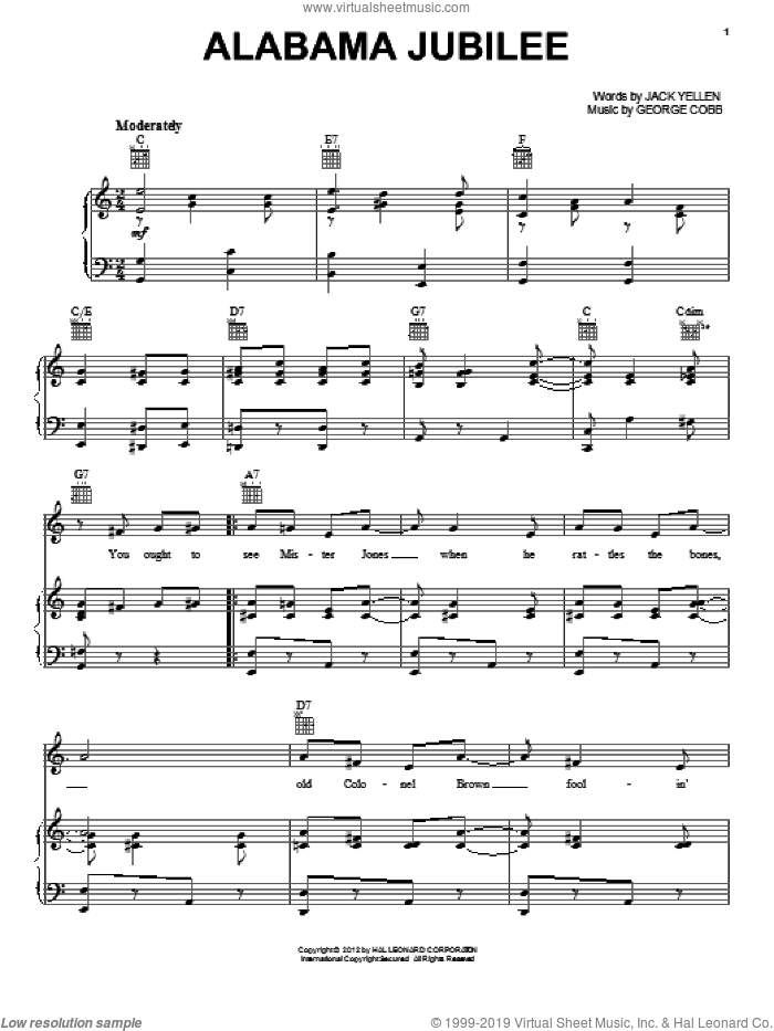 Alabama Jubilee sheet music for voice, piano or guitar by George L. Cobb, Chet Atkins, Jerry Reed and Jack Yellen. Score Image Preview.