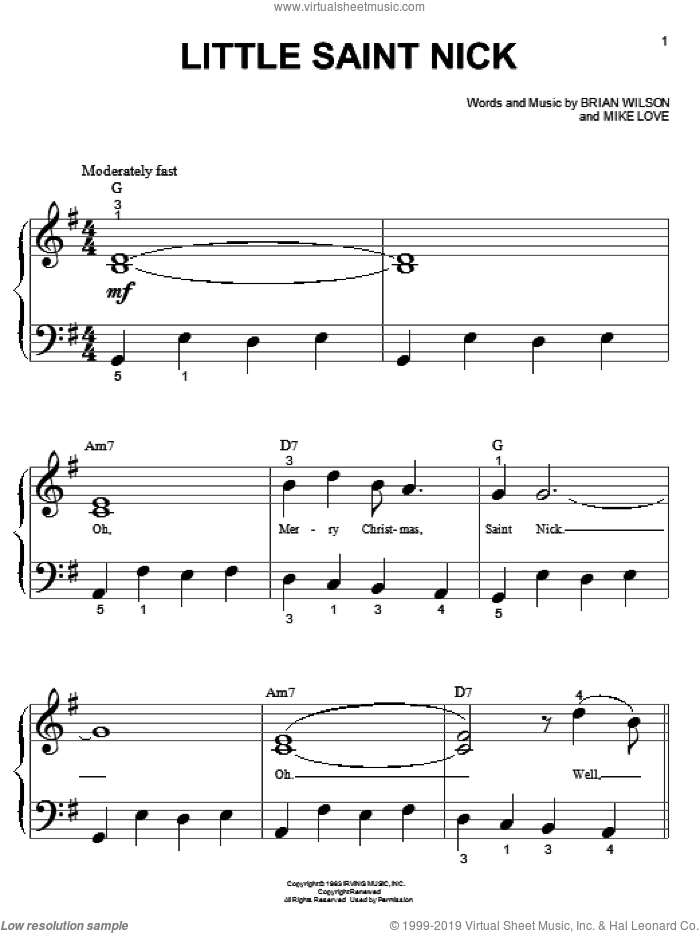 Little Saint Nick sheet music for piano solo (big note book) by The Beach Boys, Brian Wilson and Mike Love, easy piano (big note book)