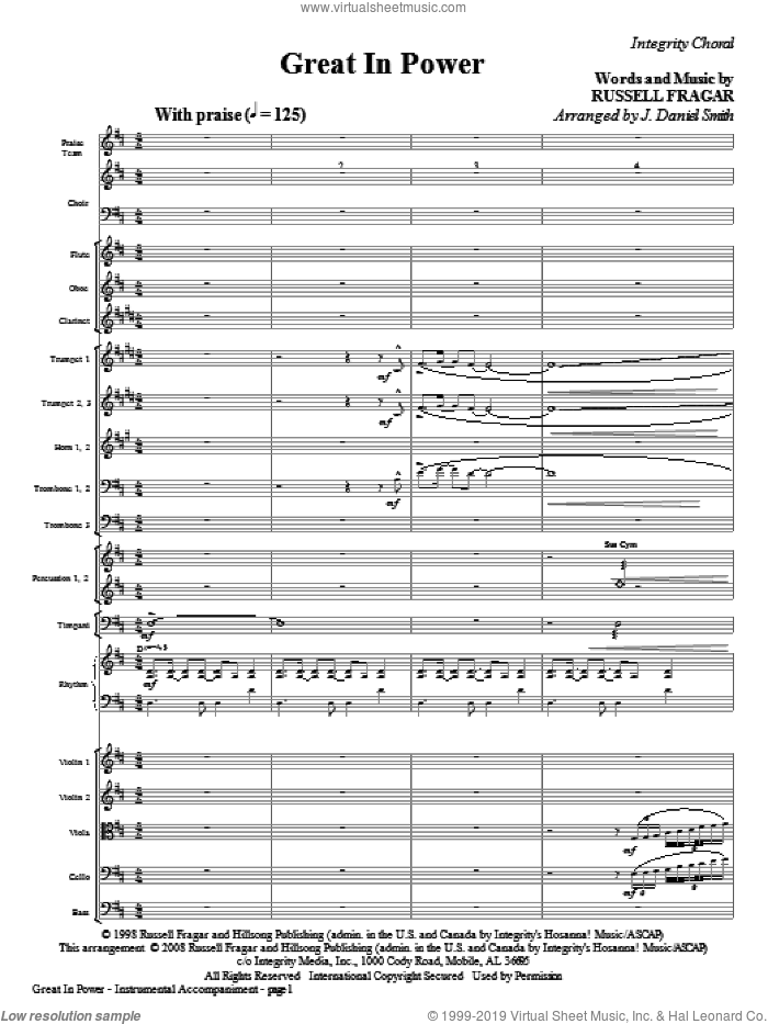 Great In Power (COMPLETE) sheet music for orchestra/band (Orchestra) by Russell Fragar and J. Daniel Smith, intermediate skill level
