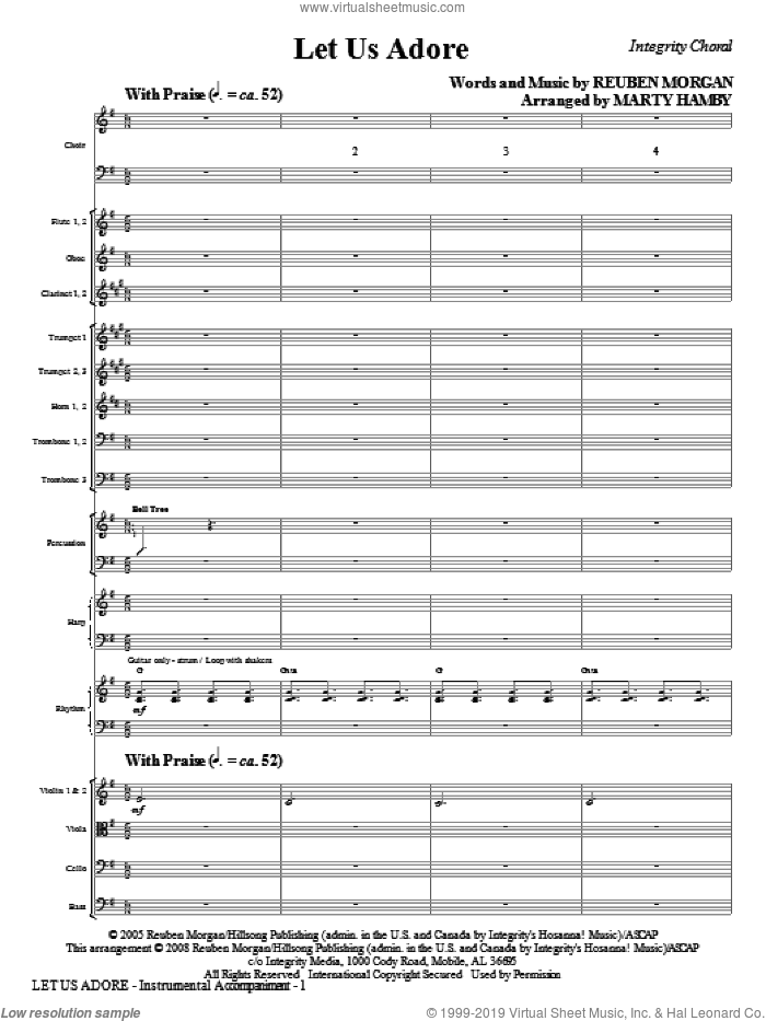 Let Us Adore (COMPLETE) sheet music for orchestra/band (Orchestra) by Reuben Morgan and Marty Hamby, intermediate. Score Image Preview.
