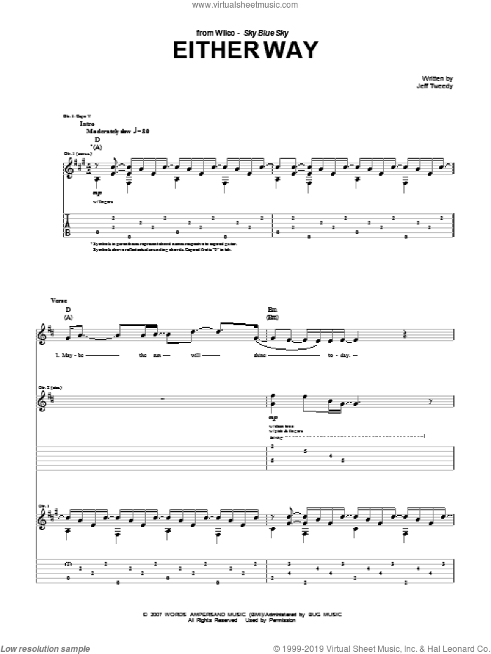 Either Way sheet music for guitar (tablature) by Wilco and Jeff Tweedy, intermediate