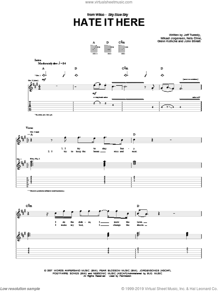 Hate It Here sheet music for guitar (tablature) by Nels Cline, Wilco and Jeff Tweedy. Score Image Preview.