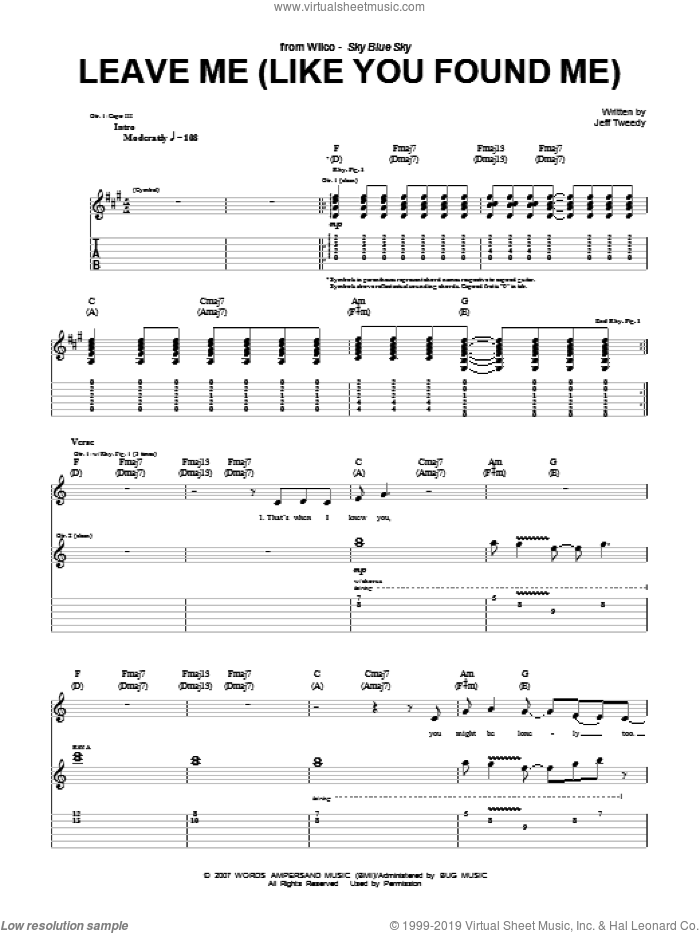 Leave Me (Like You Found Me) sheet music for guitar (tablature) by Jeff Tweedy and Wilco. Score Image Preview.