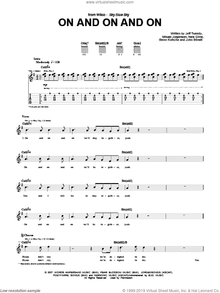 On And On And On sheet music for guitar (tablature) by Nels Cline, Wilco and Jeff Tweedy. Score Image Preview.