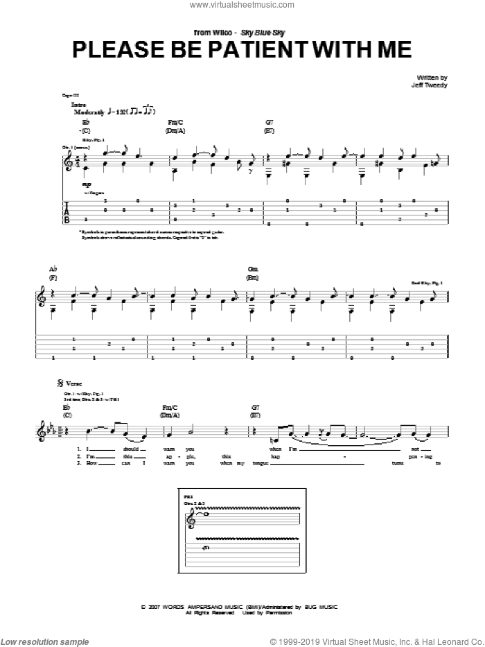Please Be Patient With Me sheet music for guitar (tablature) by Wilco and Jeff Tweedy, intermediate. Score Image Preview.