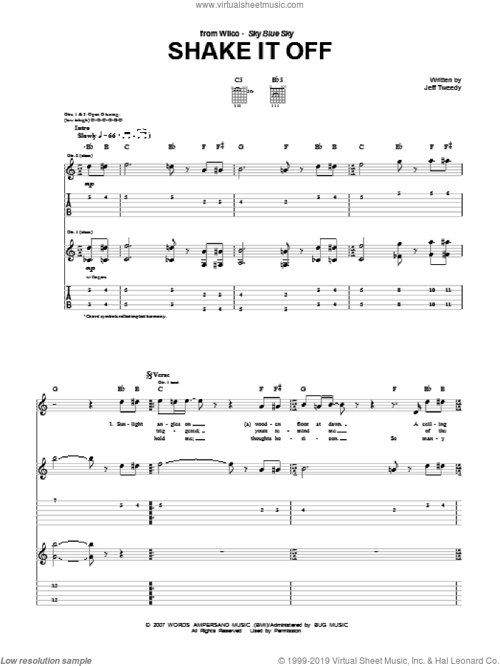 Shake It Off sheet music for guitar (tablature) by Jeff Tweedy