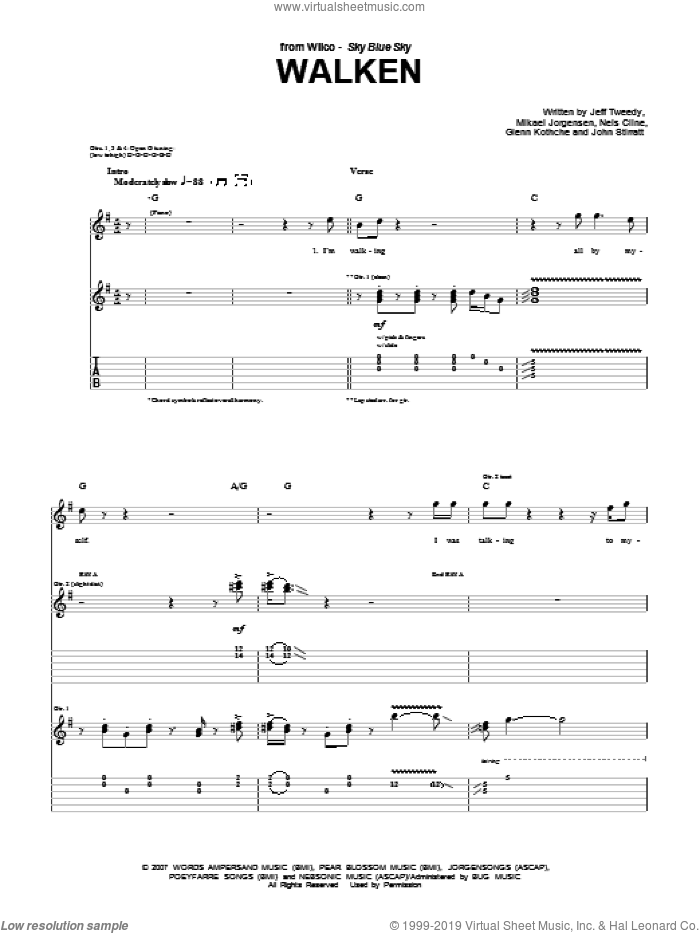 Walken sheet music for guitar (tablature) by Nels Cline, Wilco and Jeff Tweedy