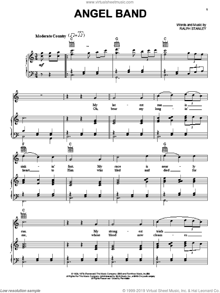 Angel Band sheet music for voice, piano or guitar by The Stanley Brothers and Ralph Stanley, intermediate skill level