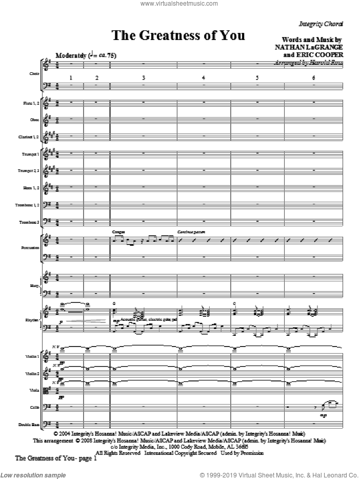 The Greatness Of You (COMPLETE) sheet music for orchestra/band (Orchestra) by Harold Ross, Erik Cooper and Nathan LaGrange, intermediate. Score Image Preview.