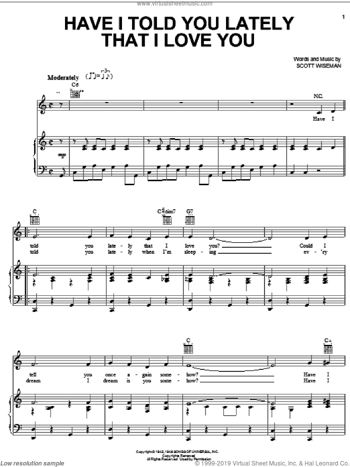 Have I Told You Lately That I Love You? sheet music for voice, piano or guitar by Kenny Rogers, Ricky Nelson, Tex Ritter and Scott Wiseman, wedding score, intermediate skill level