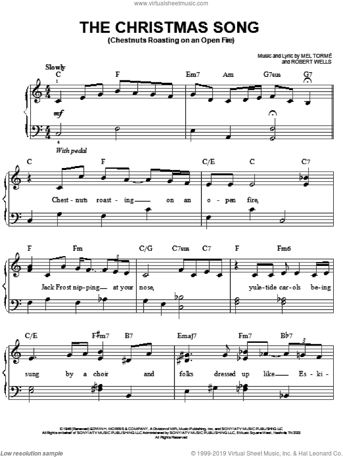 The Christmas Song (Chestnuts Roasting On An Open Fire) sheet music for piano solo by Josh Groban and Mel Torme, easy skill level