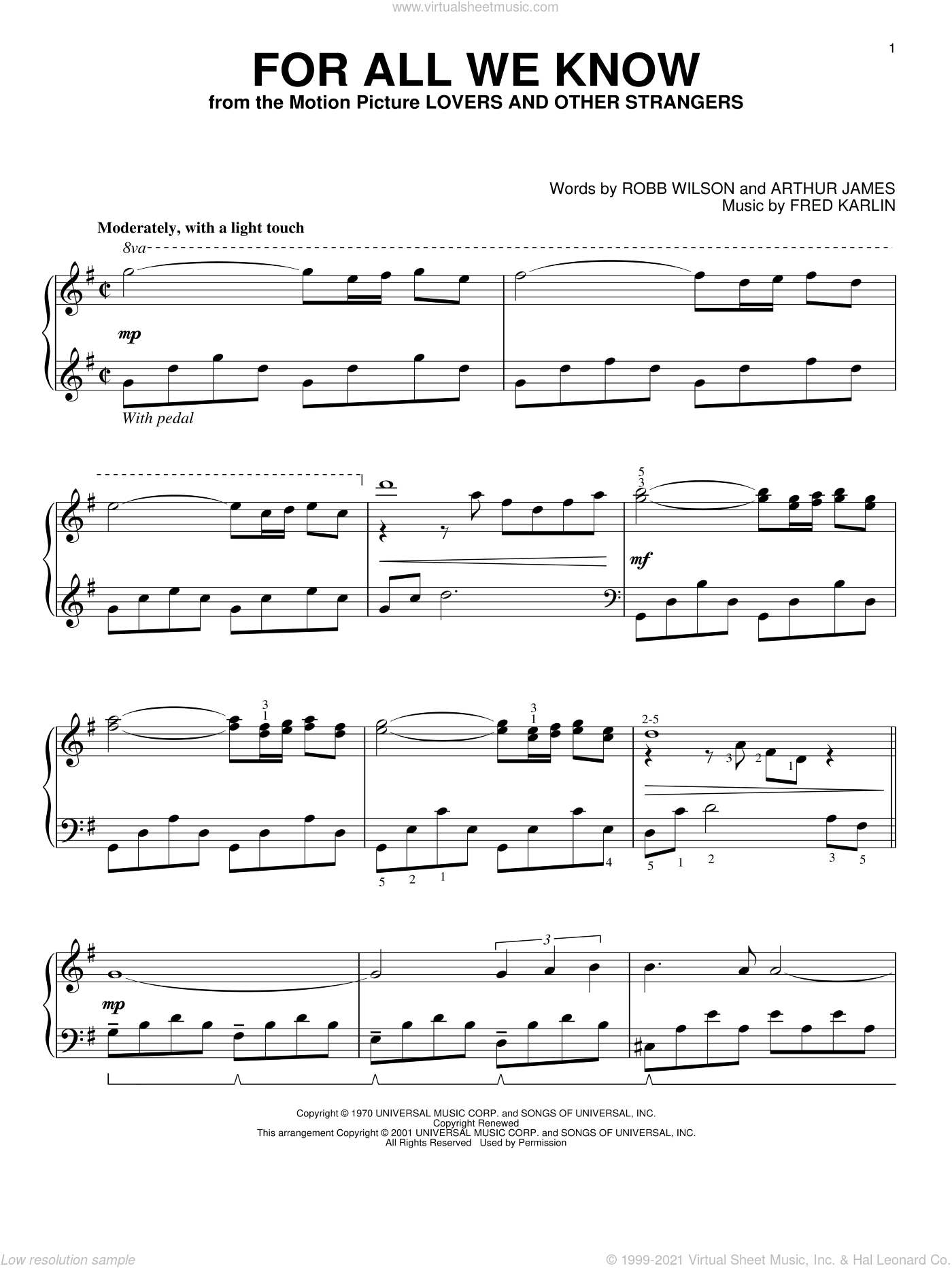 For All We Know, (intermediate) sheet music for piano solo by Carpenters, Fred Karlin, James Griffin and Robb Wilson, wedding score, intermediate skill level