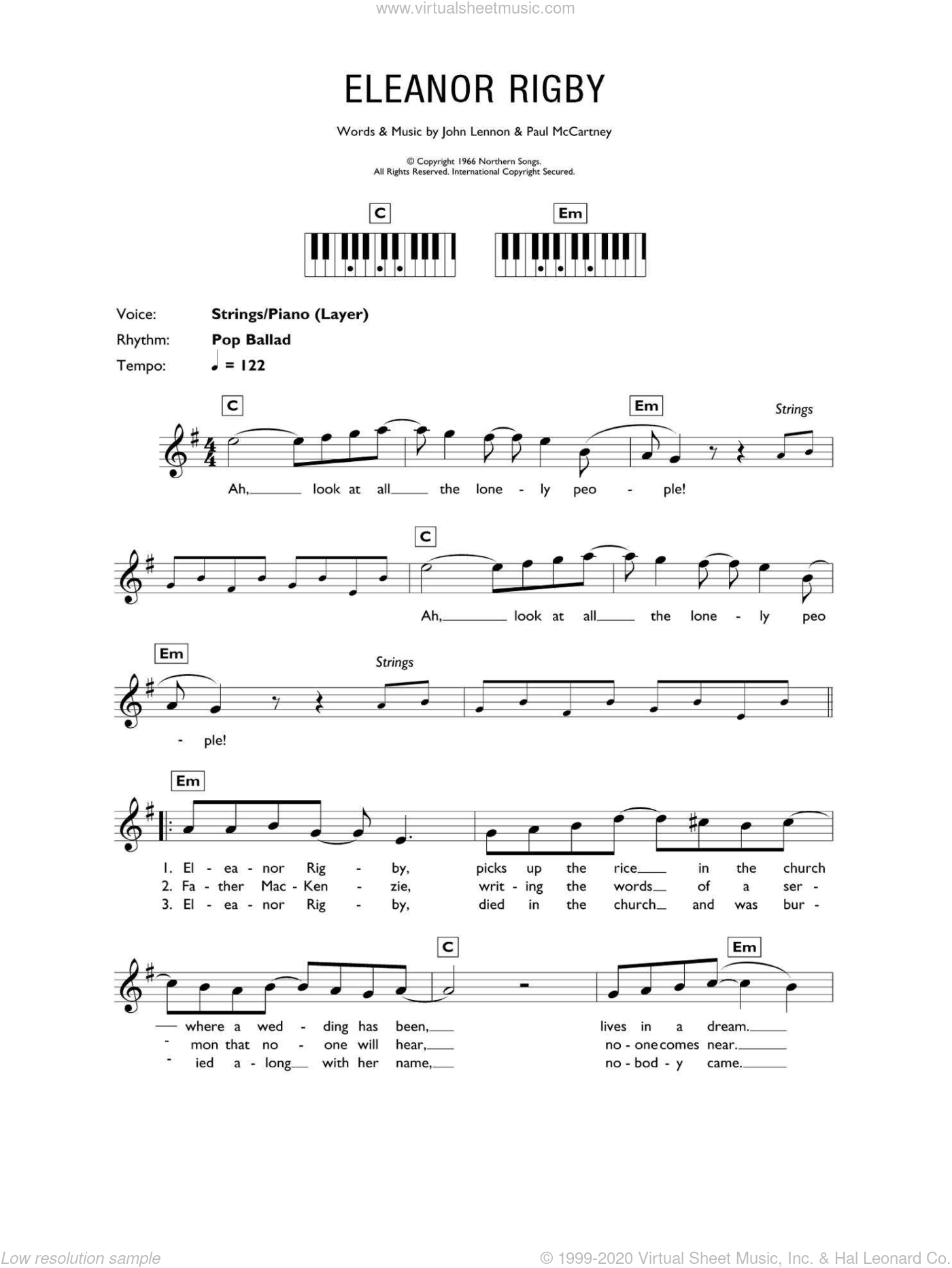 Eleanor Rigby sheet music for piano solo (chords, lyrics, melody) by The Beatles, John Lennon and Paul McCartney. Score Image Preview.
