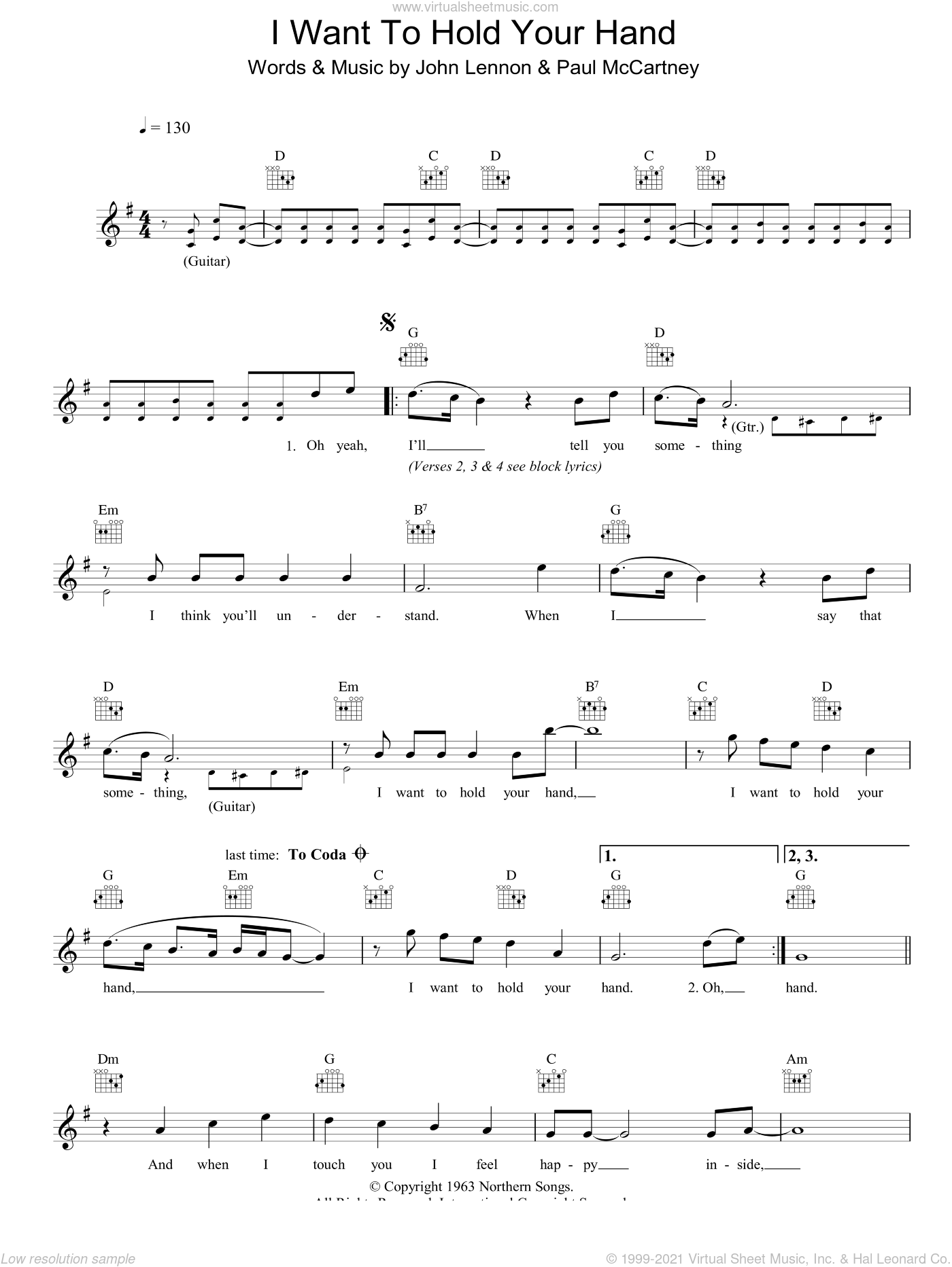 I Want To Hold Your Hand sheet music for voice and other instruments (fake book) by Paul McCartney, The Beatles and John Lennon. Score Image Preview.