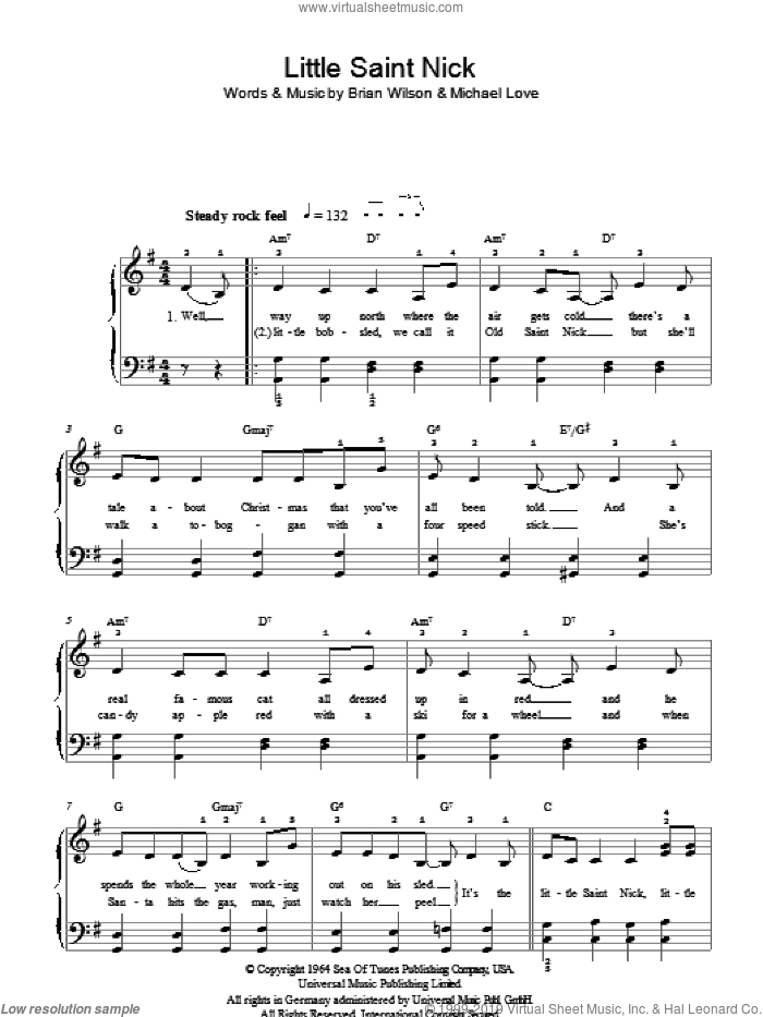 Little Saint Nick sheet music for piano solo by Brian Wilson