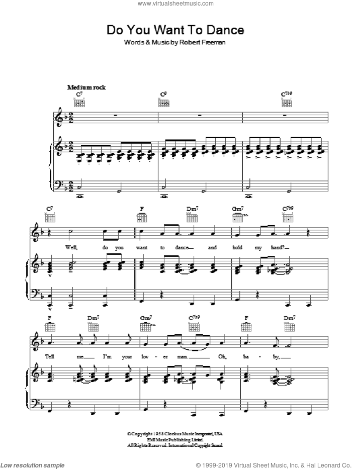 Do You Want To Dance? sheet music for voice, piano or guitar by Robert Freeman and The Beach Boys. Score Image Preview.
