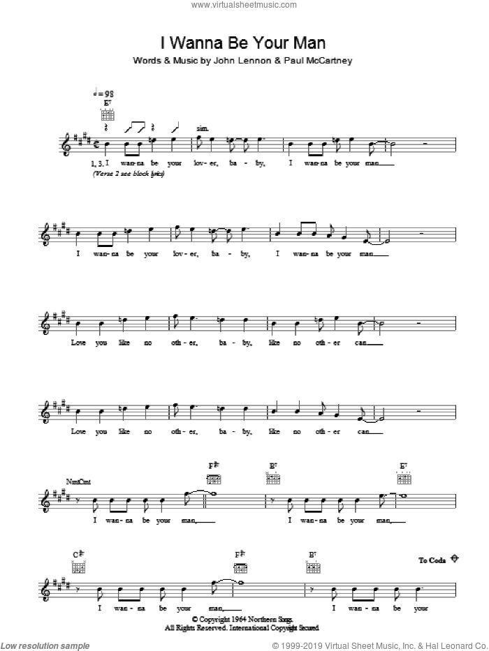 I Wanna Be Your Man sheet music for voice and other instruments (fake book) by The Beatles, John Lennon and Paul McCartney. Score Image Preview.