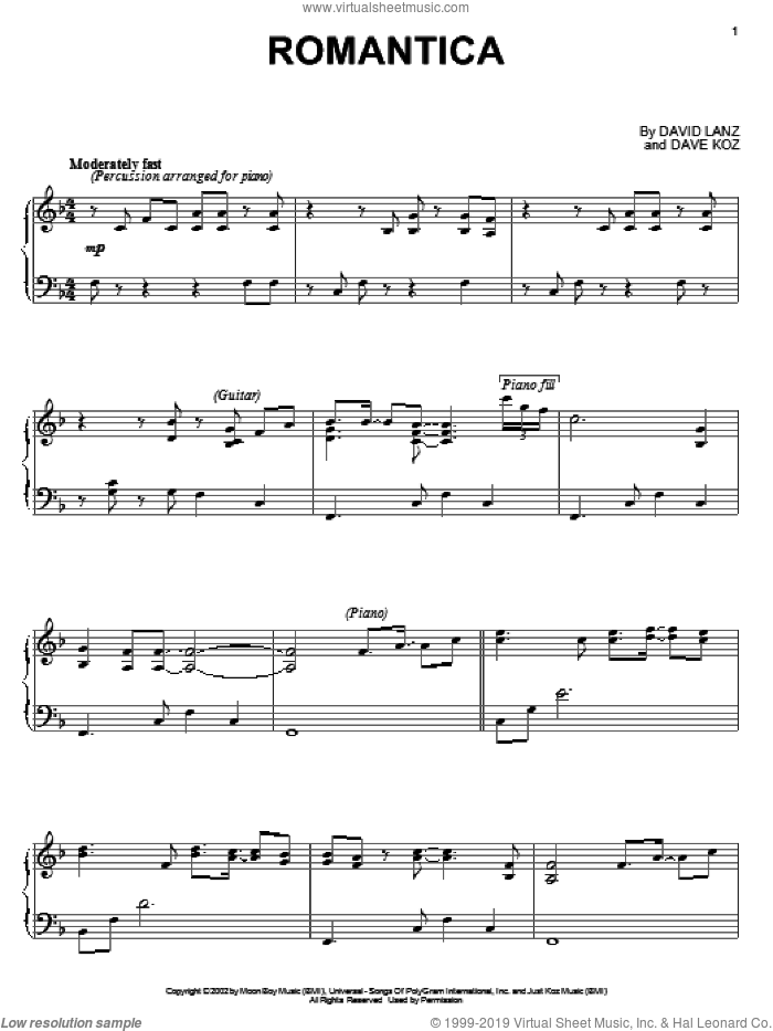 Romantica sheet music for piano solo by David Lanz and Dave Koz, intermediate skill level