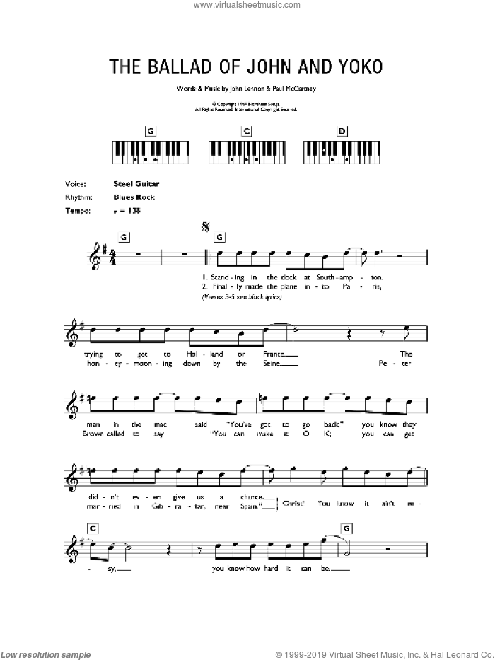 The Ballad Of John And Yoko sheet music for piano solo (chords, lyrics, melody) by The Beatles, John Lennon and Paul McCartney, intermediate piano (chords, lyrics, melody)