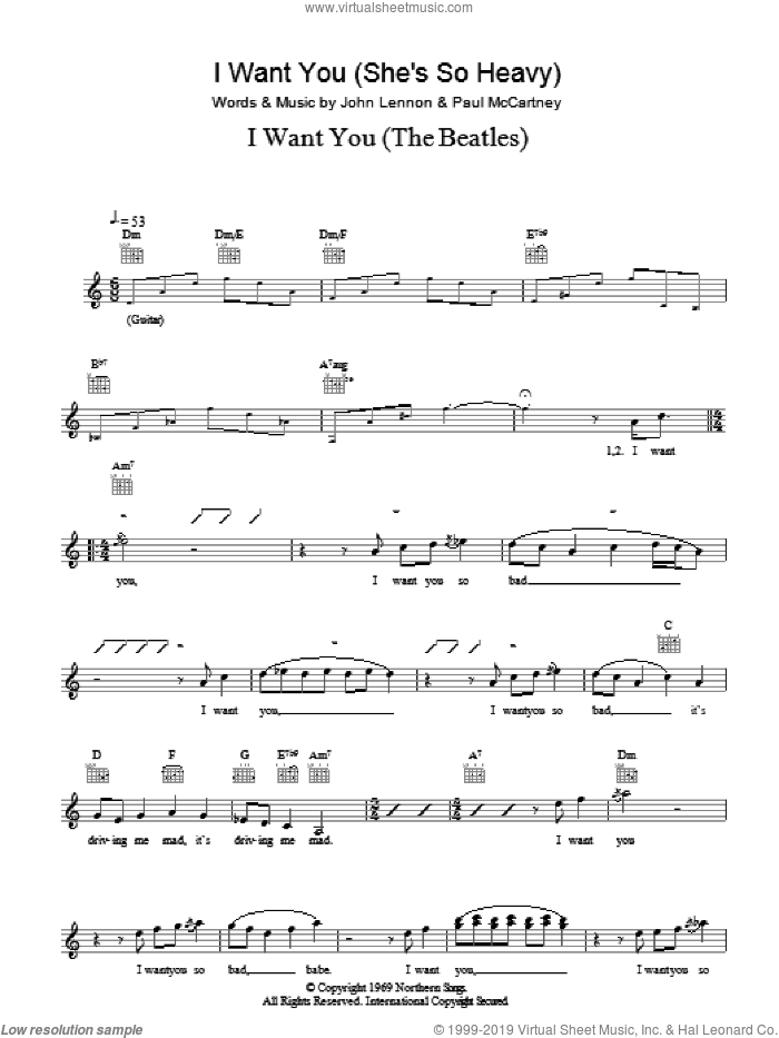 I Want You (She's So Heavy) sheet music for voice and other instruments (fake book) by The Beatles, John Lennon and Paul McCartney, intermediate. Score Image Preview.