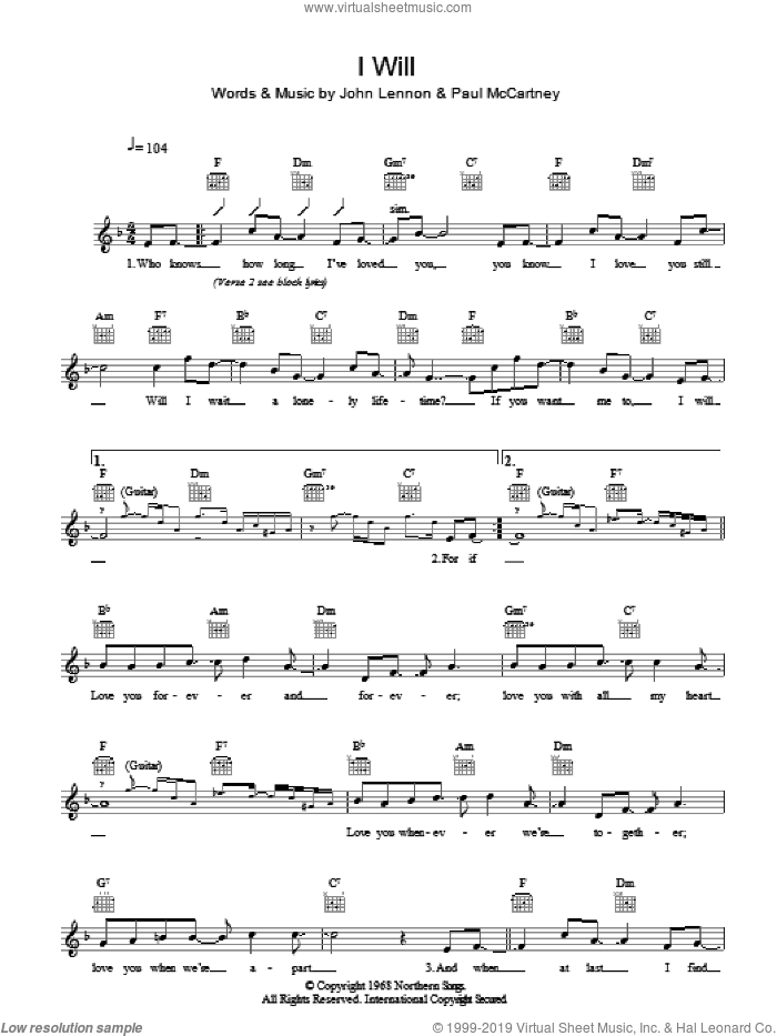 I Will sheet music for voice and other instruments (fake book) by John Lennon, The Beatles and Paul McCartney. Score Image Preview.