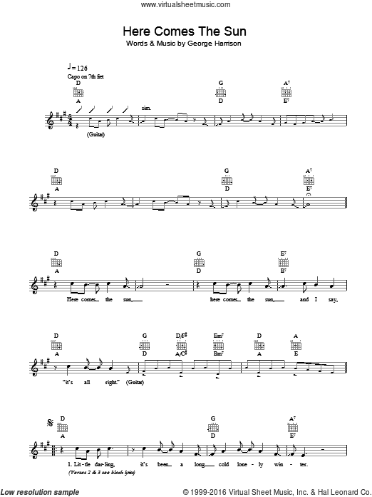 Here Comes The Sun sheet music for voice and other instruments (fake book) by George Harrison and The Beatles. Score Image Preview.