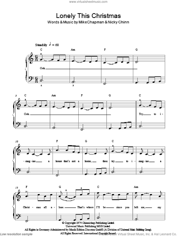 Lonely This Christmas sheet music for piano solo by Mike Chapman, Mud and Nicky Chinn. Score Image Preview.