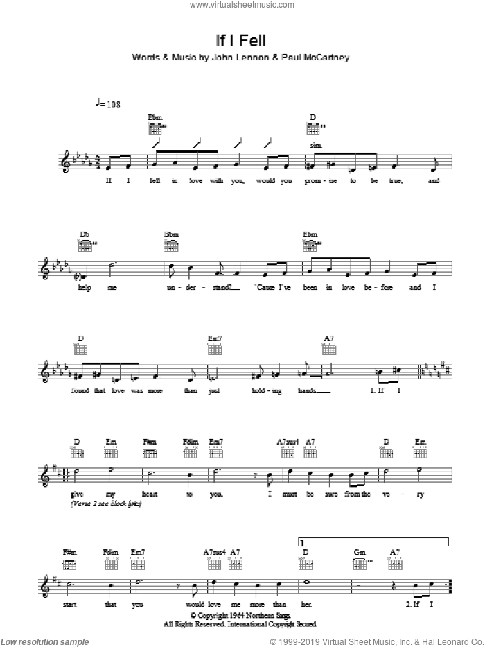 If I Fell sheet music for voice and other instruments (fake book) by The Beatles, John Lennon and Paul McCartney, intermediate voice. Score Image Preview.