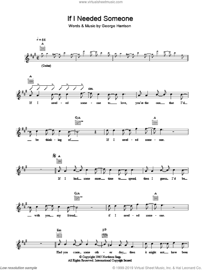 If I Needed Someone sheet music for voice and other instruments (fake book) by The Beatles and George Harrison, intermediate
