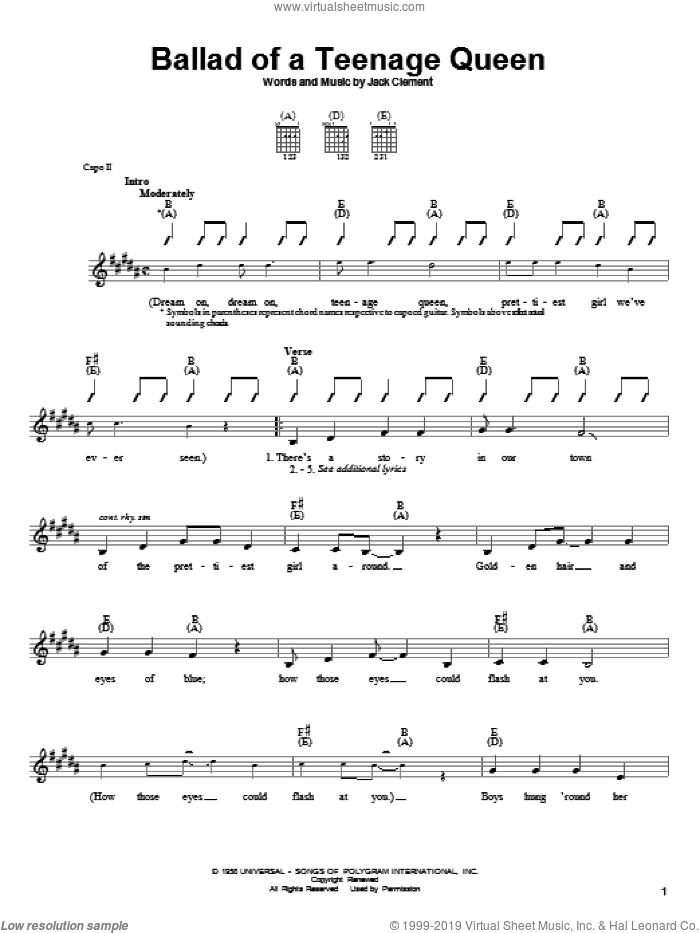 Ballad Of A Teenage Queen sheet music for guitar solo (chords) by Jack Clement