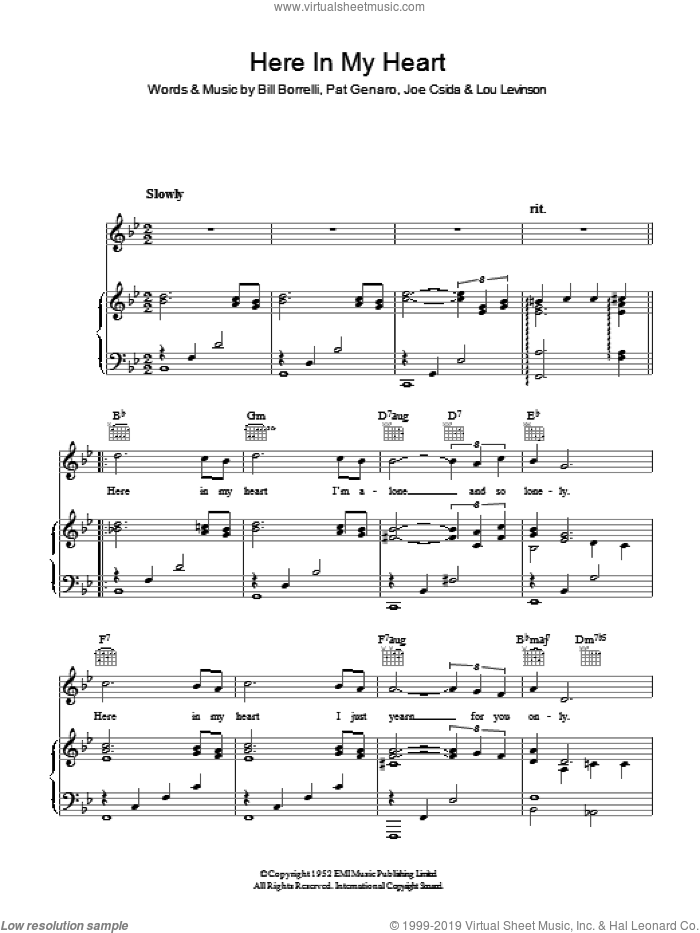Here In My Heart sheet music for voice, piano or guitar by Al Martino, intermediate voice, piano or guitar. Score Image Preview.