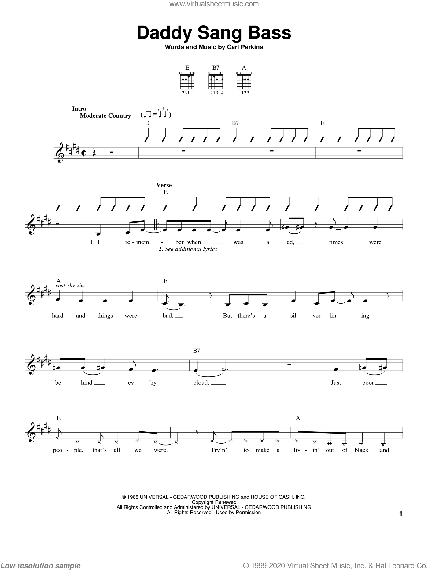 Daddy Sang Bass sheet music for guitar solo (chords) by Carl Perkins, Johnny Cash and Oak Ridge Boys. Score Image Preview.