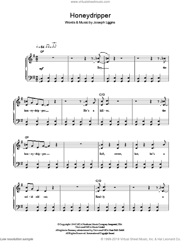 Honeydripper sheet music for piano solo by Joe Liggins. Score Image Preview.