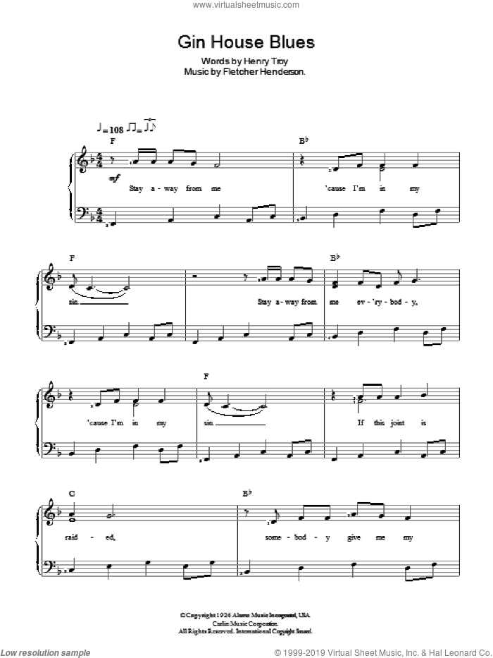 Gin House Blues sheet music for piano solo by Fletcher Henderson and Nina Simone. Score Image Preview.
