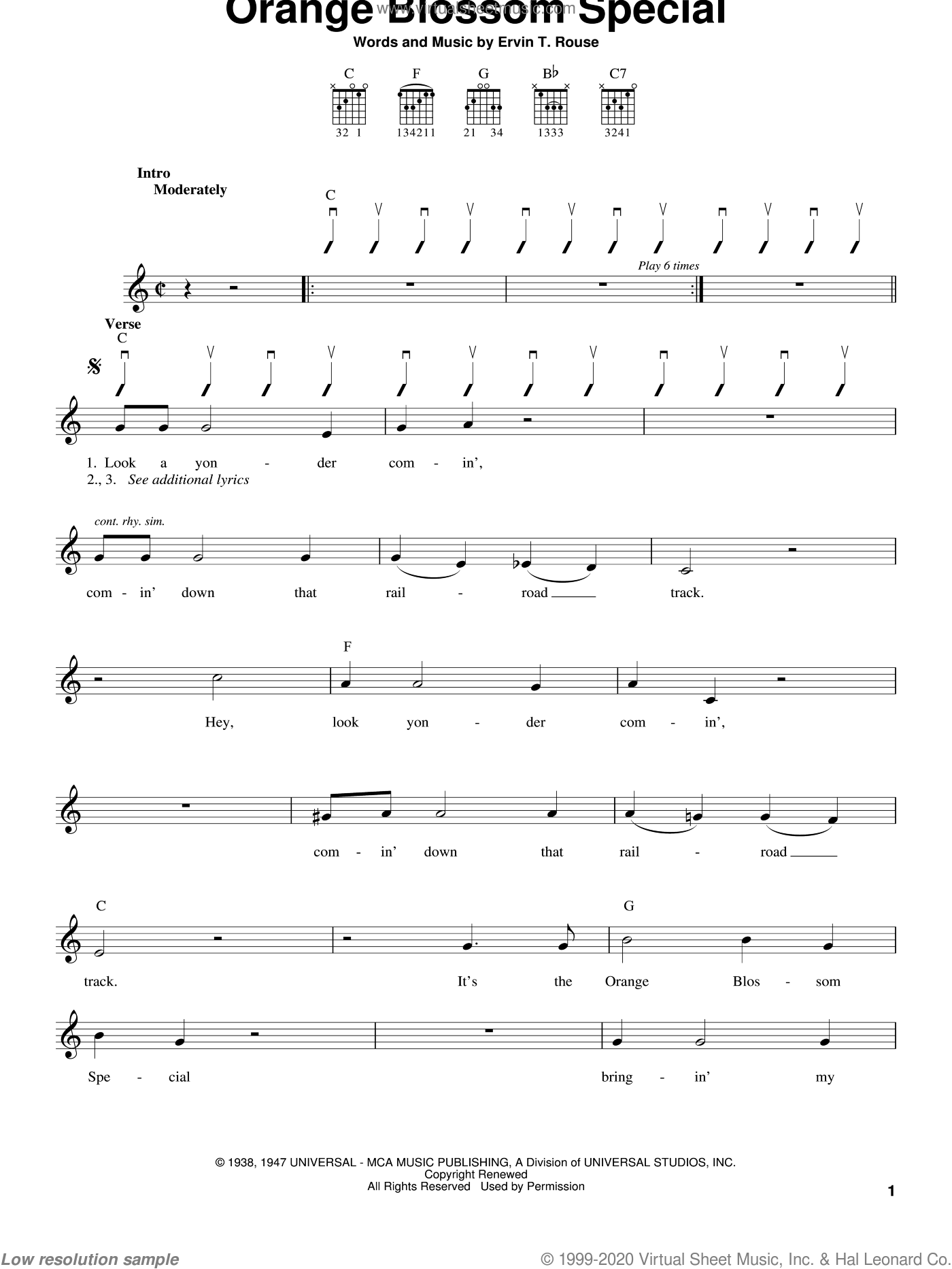 Orange Blossom Special sheet music for guitar solo (chords) by Johnny Cash and Ervin T. Rouse. Score Image Preview.