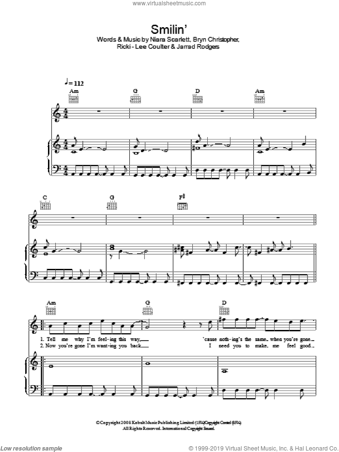Smilin' sheet music for voice, piano or guitar by Jarrad Rogers