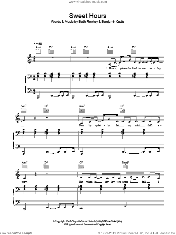 Sweet Hours sheet music for voice, piano or guitar by Benjamin Castle. Score Image Preview.