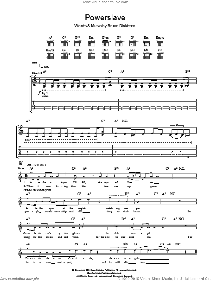 Powerslave sheet music for guitar (tablature) by Iron Maiden and Bruce Dickinson. Score Image Preview.