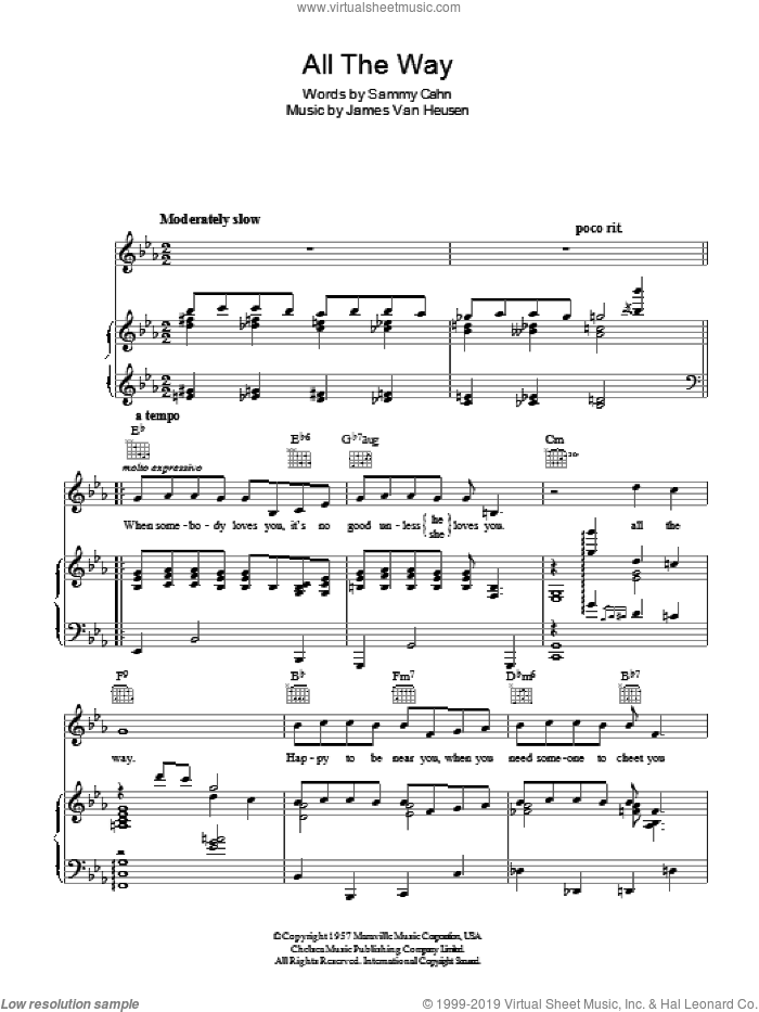 All The Way sheet music for voice, piano or guitar by Jimmy van Heusen