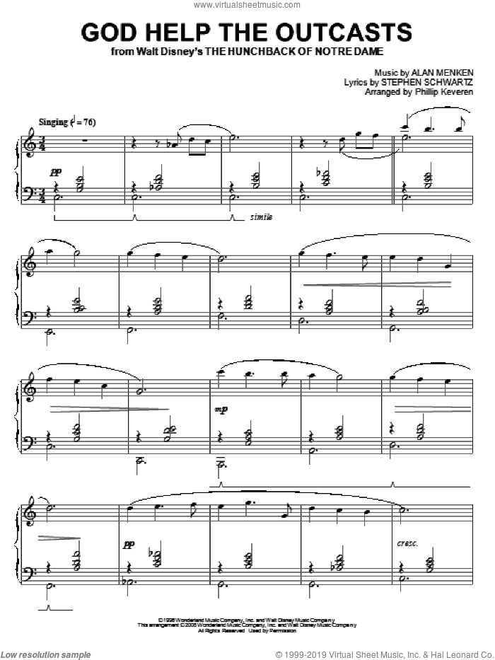 God Help The Outcasts sheet music for piano solo by Bette Midler, Phillip Keveren, Alan Menken and Stephen Schwartz, intermediate skill level