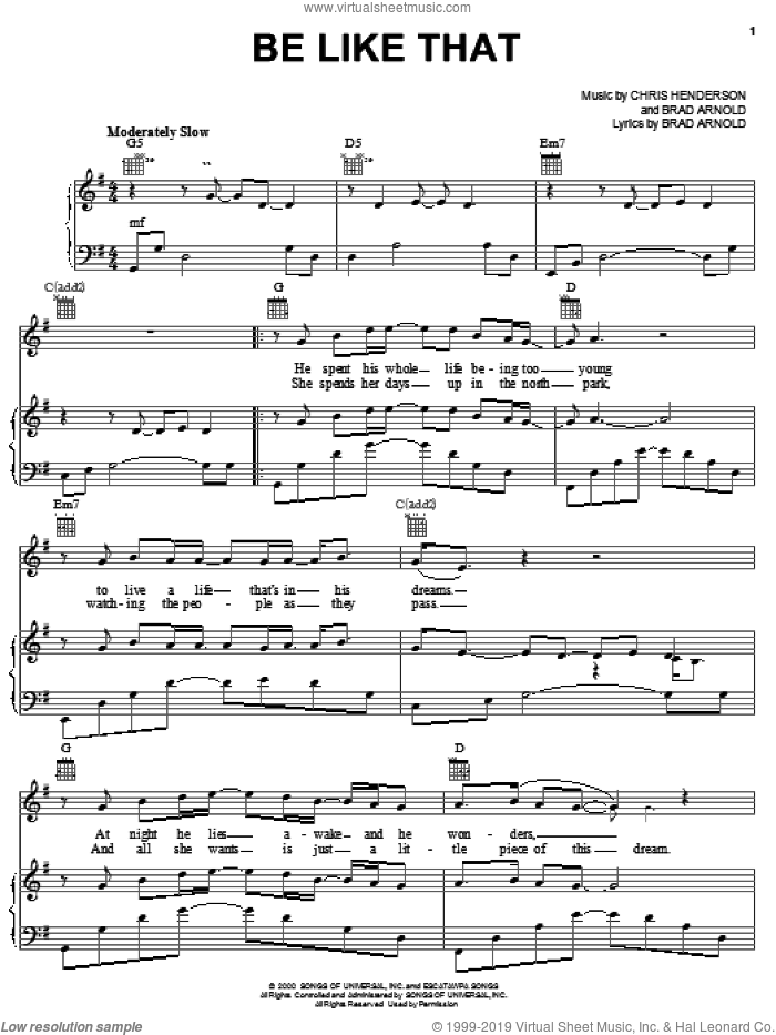 Be Like That sheet music for voice, piano or guitar by 3 Doors Down, intermediate voice, piano or guitar. Score Image Preview.