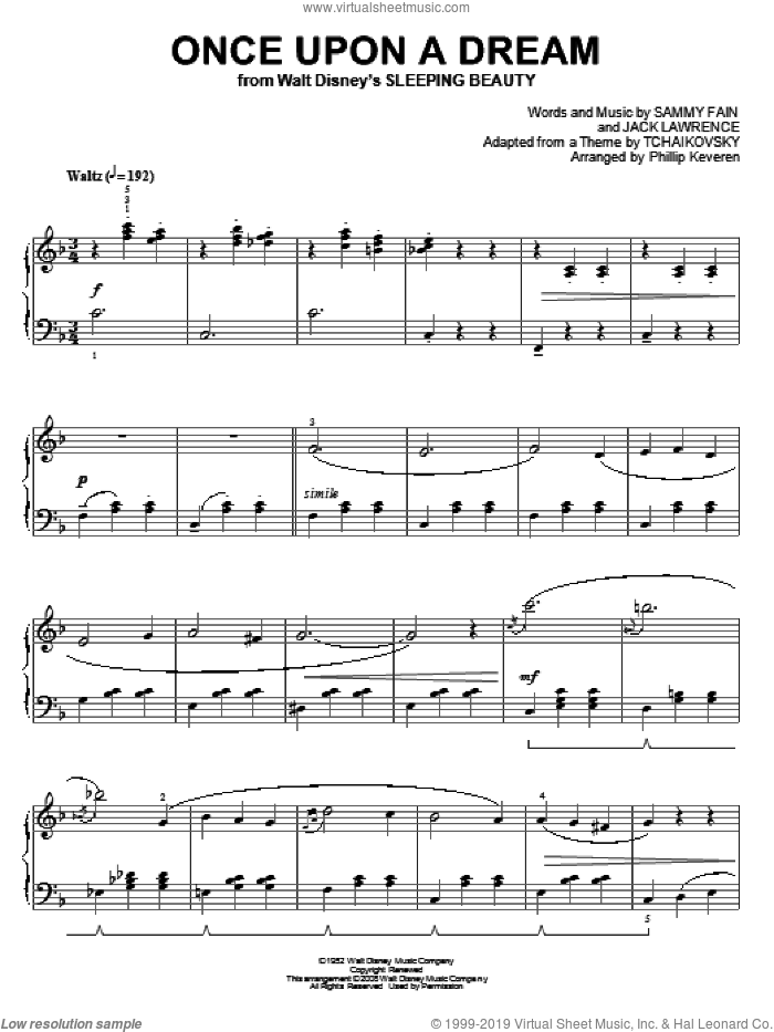 Once Upon A Dream [Classical version] (arr. Phillip Keveren) sheet music for piano solo by Sammy Fain, Phillip Keveren and Jack Lawrence, intermediate skill level